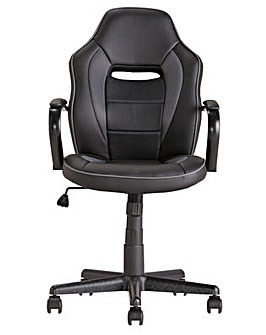 Home Faux Leather Mid Back Gaming Chair - Black