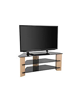 Oak and Black Glass 55 Inch TV Stand