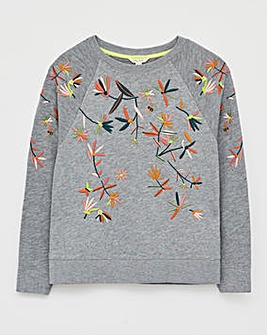 White Stuff Laundered Embroidered Sweat