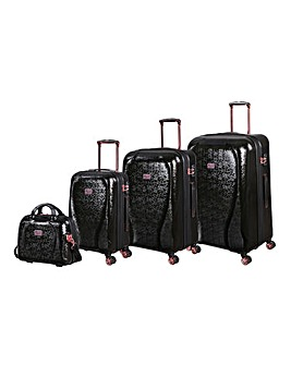 IT Luggage Sparkle 4pc Set Black