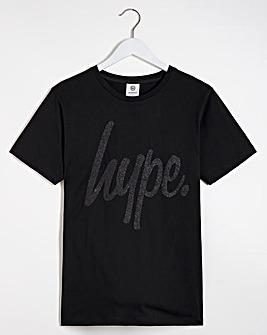 Hype Black Glitter Script T-Shirt