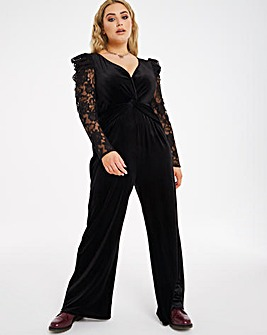 Little Mistress Lace Sleeve Jumpsuit
