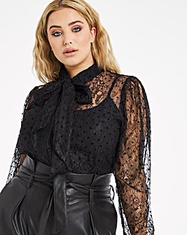 Little Mistress Lace Pussybow Blouse