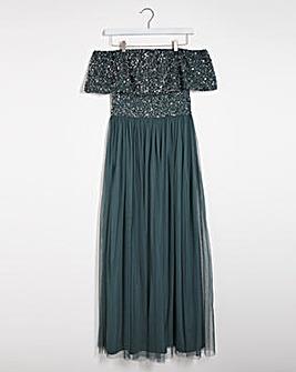 Maya Curve Bardot Sequin Mesh Dress
