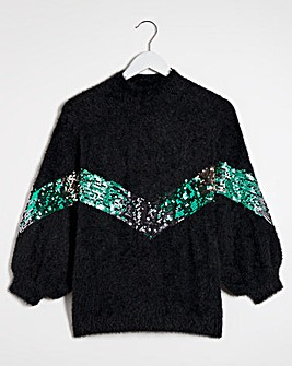 Lovedrobe Sequin Chevron Jumper