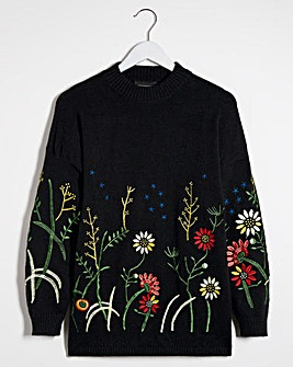 Lovedrobe Floral Embroidered Jumper