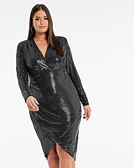 Lovedrobe Metallic Wrap Dress