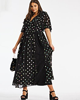 Lovedrobe Iridescent Spot and Lace Dress