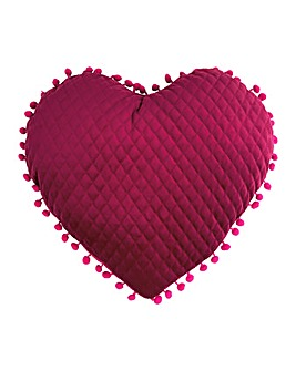 Pom Pom Heart Cushion