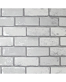 Arthouse Metallic Brick White Silver Wallpaper
