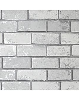 Arthouse Metallic Brick White Silver Wallpaper