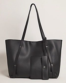 Large Leather Look Tote With Coin Purse