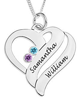 Sterling Silver and Crystal Personalised Heart Pendant