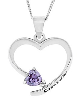 Sterling Silver and Cubic Zirconia Personalised Heart Pendant with chain
