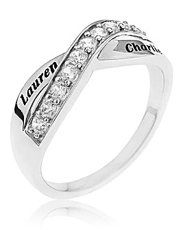 Sterling Silver and Cubic Zirconia Personalised Crossover Eternity Ring