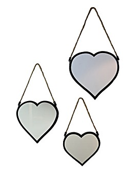 Arthouse Set of 3 Heart Mirrors