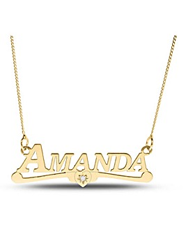 9ct Gold Diamond Set Name Necklet