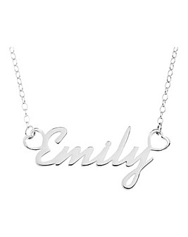 Sterling Silver Name Necklet featuring heart ends