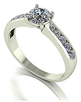 Miossanite 9CT Gold White Solitaire Ring