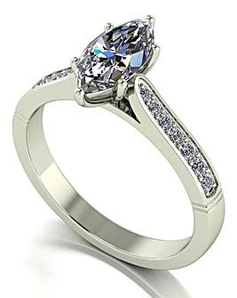 Moissanite 9CT White Gold Ring