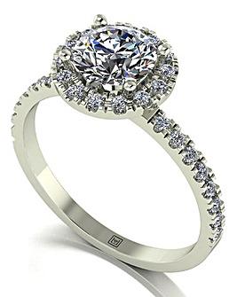 Moissanite 9CT White Gold Halo Ring