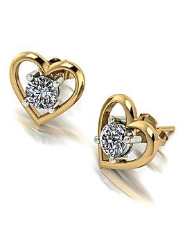 Moissanite 9CT Gold Heart Set Earrings