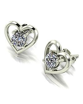 Moissanite 9ct White Gold Heart Earrings
