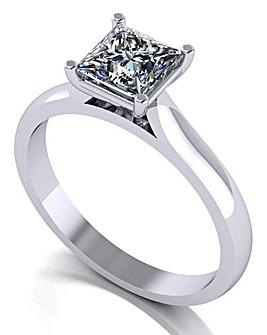 Moissanite Platinum Solitaire Ring