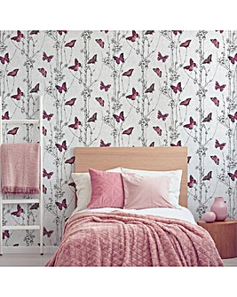 Fresco Pink Flutterby Forest Floral Wallpaper
