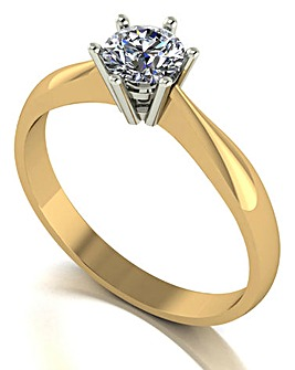 9ct Gold Moissanite Solitaire Ring