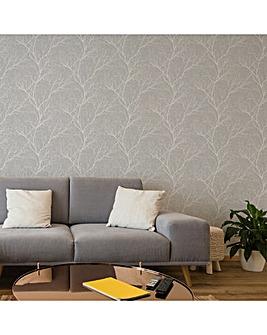 Fresco Grey Winter Tree Forest Silhouette Wallpaper
