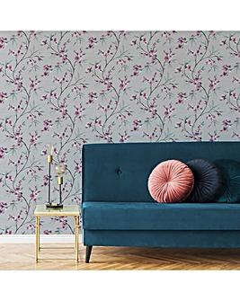 Pink/White Kimono Oriental W/Paper