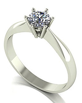 9ct White Gold Moissanite Solitaire Ring
