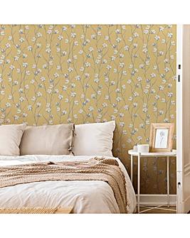 Superfresco Ochre Cotton Flower Floral Wallpaper