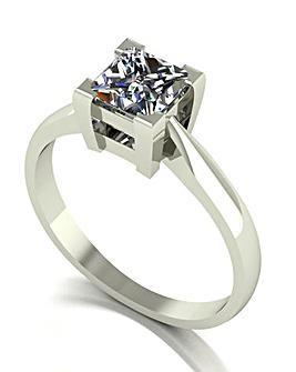 9ct White Gold Square Brilliant Ring