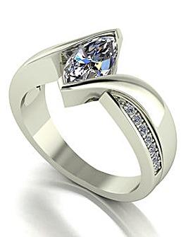 Moissanite 9ct Gold Marq Cut Ring