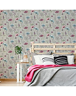 Fresco Grey/Multicolour Hand Sketched Floral Wallpaper