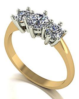 Moissanite 9ct Gold 3 Stone Ring