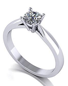 Moissanite Platinum Round Ring