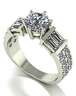 9ct White Gold Moissanite Ring