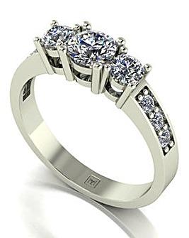 Moissanite 9ct White Gold Trilogy Ring