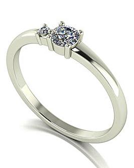 Moissanite 9ct White Gold Lady Lynsey Stacker Ring