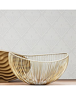 Superfresco White Art Deco Geometric Paintable Wallpaper