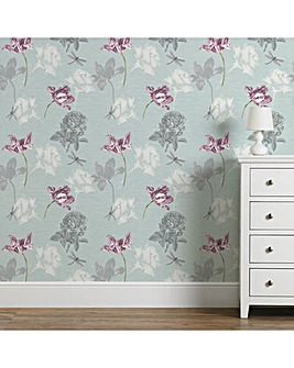 Fresco Blue Dulcie Floral Wallpaper