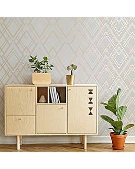 Sublime Grey/Rose Gold Ritz Geometric Metallic Wallpaper
