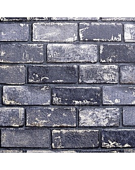 Artistick Metallic Brick Navy Wallpaper