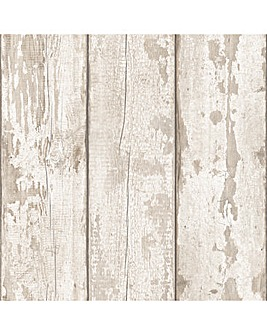 Artistick White Washed Wood Wallpaper