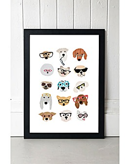 East End Prints Dogs in Glasses by Hanna Melin Art Print