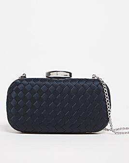 Satin Woven Clutch Bag With Shoulder Strap