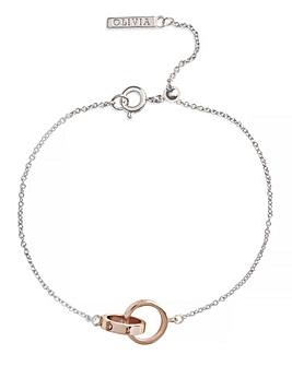 Olivia Burton Silver & Rose Gold The Classics Interlink Bracelet